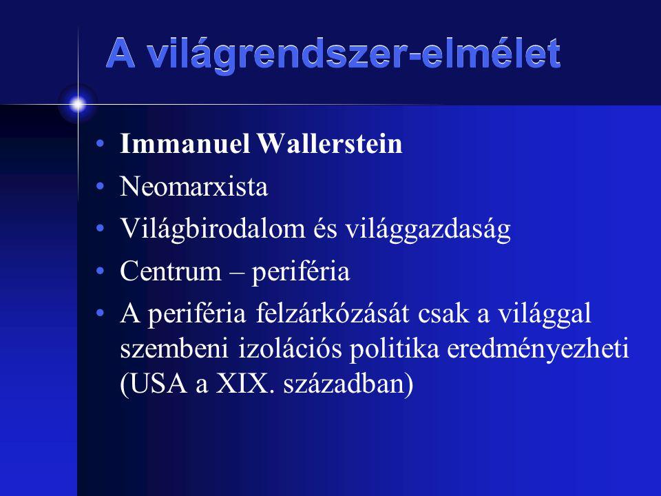 A világrendszer-elmélet Immanuel Wallerstein Neomarxista Világbirodalom és világgazdaság Centrum – periféria A periféria felzárkózását csak a világgal