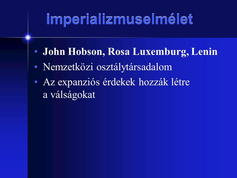 Imperializmuselmélet John Hobson, Rosa Luxemburg, Lenin Nemzetközi osztálytársadalom Az expanziós érdekek hozzák létre a válságokat