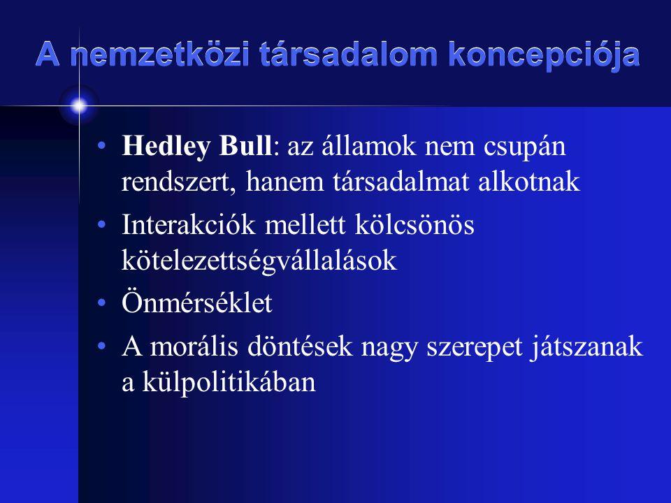 A nemzetközi társadalom koncepciója Hedley Bull: az államok nem csupán rendszert, hanem társadalmat alkotnak Interakciók mellett kölcsönös kötelezetts