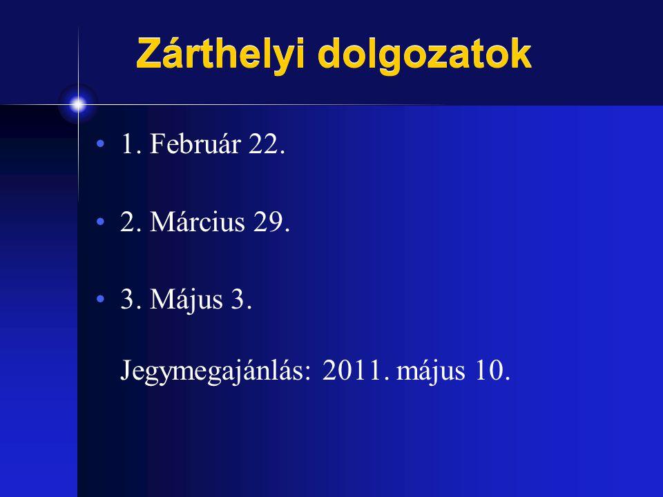 Zárthelyi dolgozatok 1. Február 22. 2. Március 29. 3. Május 3. Jegymegajánlás: 2011. május 10.