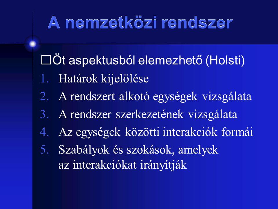 A nemzetközi rendszer Öt aspektusból elemezhető (Holsti) 1.Határok kijelölése 2.A rendszert alkotó egységek vizsgálata 3.A rendszer szerkezetének vizs