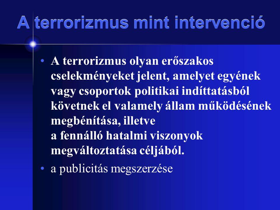 A terrorizmus mint intervenció A terrorizmus olyan erőszakos cselekményeket jelent, amelyet egyének vagy csoportok politikai indíttatásból követnek el