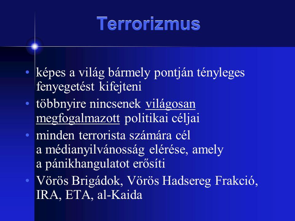 Terrorizmus képes a világ bármely pontján tényleges fenyegetést kifejteni többnyire nincsenek világosan megfogalmazott politikai céljai minden terrori