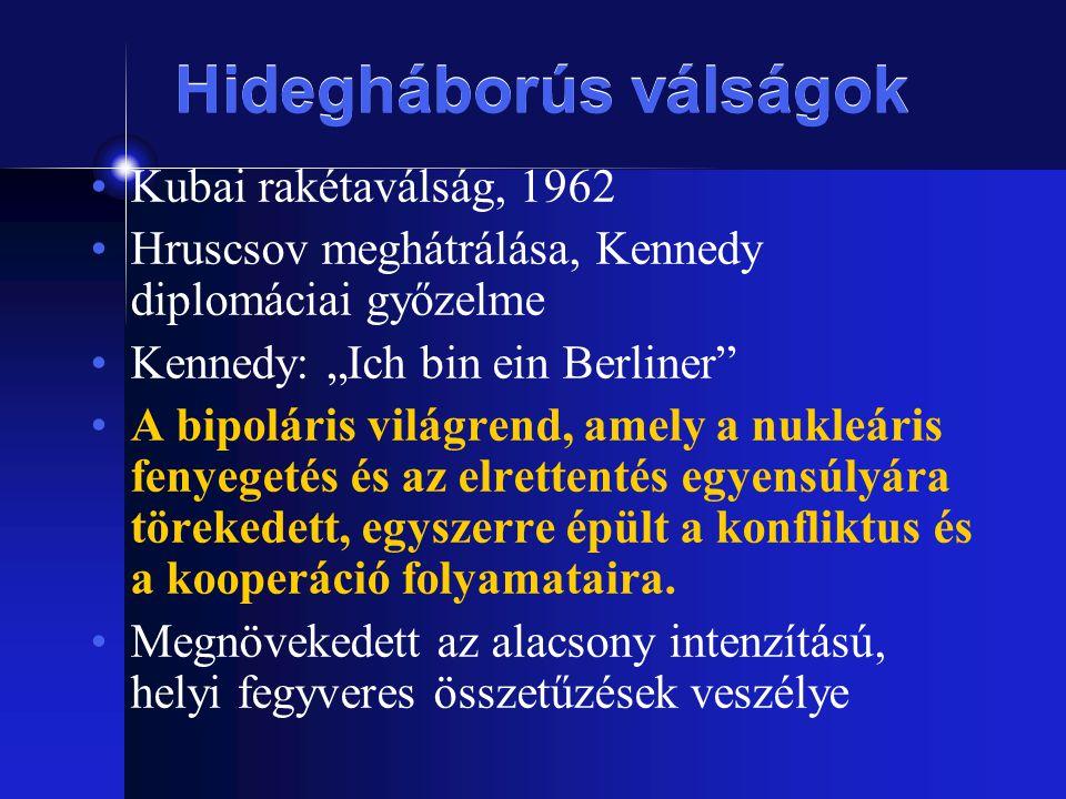 """Hidegháborús válságok Kubai rakétaválság, 1962 Hruscsov meghátrálása, Kennedy diplomáciai győzelme Kennedy: """"Ich bin ein Berliner"""" A bipoláris világre"""