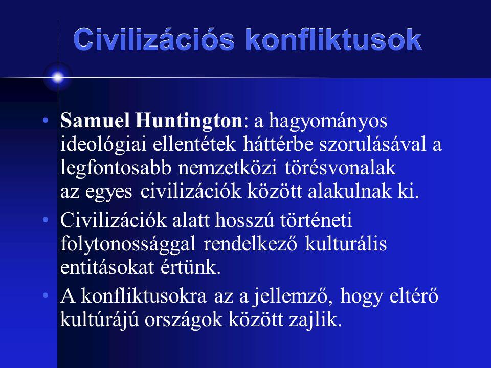 Civilizációs konfliktusok Samuel Huntington: a hagyományos ideológiai ellentétek háttérbe szorulásával a legfontosabb nemzetközi törésvonalak az egyes