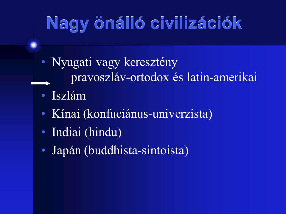 Nagy önálló civilizációk Nyugati vagy keresztény pravoszláv-ortodox és latin-amerikai Iszlám Kínai (konfuciánus-univerzista) Indiai (hindu) Japán (bud