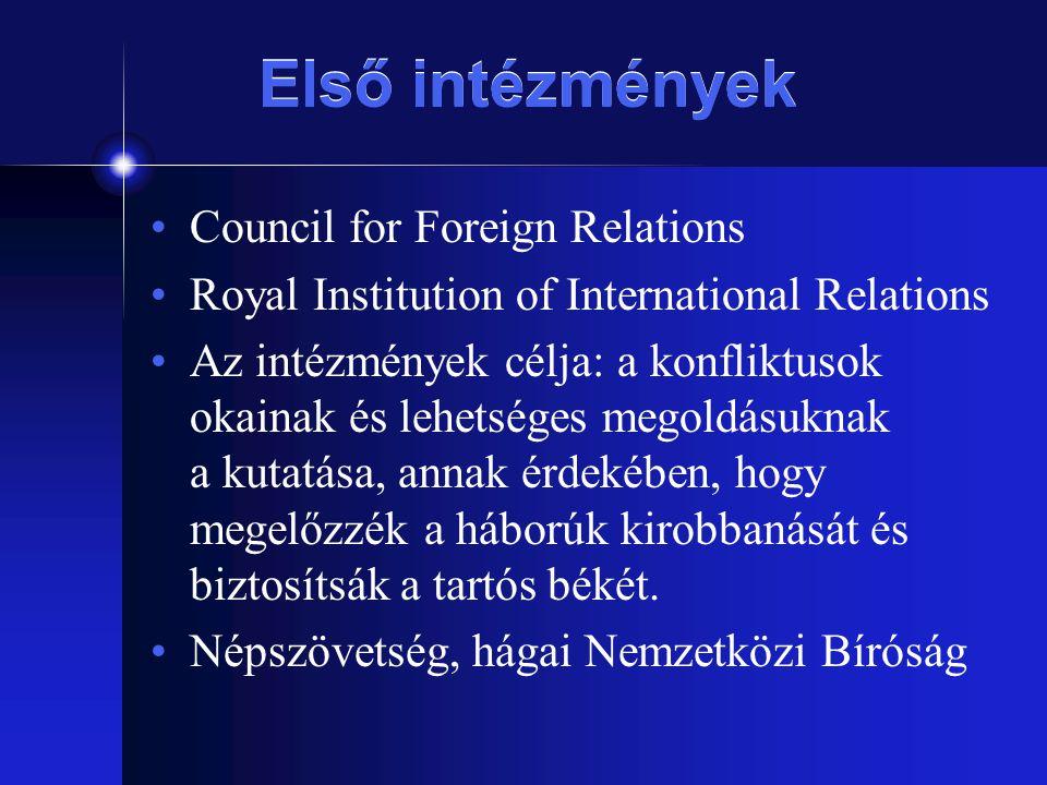 Első intézmények Council for Foreign Relations Royal Institution of International Relations Az intézmények célja: a konfliktusok okainak és lehetséges
