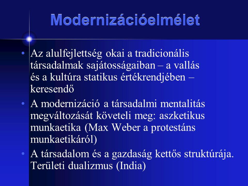 Modernizációelmélet Az alulfejlettség okai a tradicionális társadalmak sajátosságaiban – a vallás és a kultúra statikus értékrendjében – keresendő A m