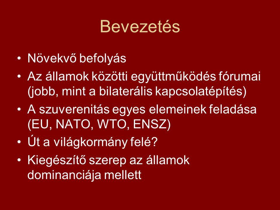 Bevezetés Növekvő befolyás Az államok közötti együttműködés fórumai (jobb, mint a bilaterális kapcsolatépítés) A szuverenitás egyes elemeinek feladása (EU, NATO, WTO, ENSZ) Út a világkormány felé.