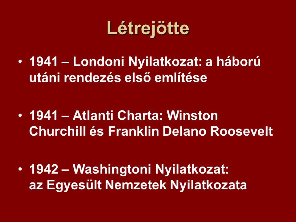 Létrejötte 1941 – Londoni Nyilatkozat: a háború utáni rendezés első említése 1941 – Atlanti Charta: Winston Churchill és Franklin Delano Roosevelt 1942 – Washingtoni Nyilatkozat: az Egyesült Nemzetek Nyilatkozata