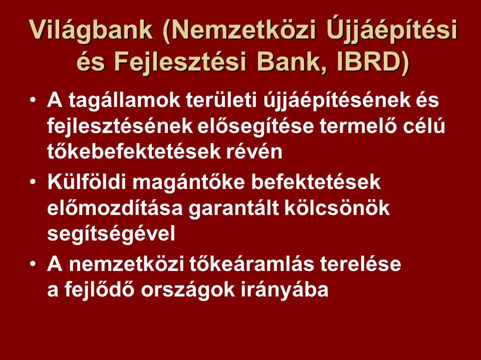 Világbank (Nemzetközi Újjáépítési és Fejlesztési Bank, IBRD) A tagállamok területi újjáépítésének és fejlesztésének elősegítése termelő célú tőkebefektetések révén Külföldi magántőke befektetések előmozdítása garantált kölcsönök segítségével A nemzetközi tőkeáramlás terelése a fejlődő országok irányába