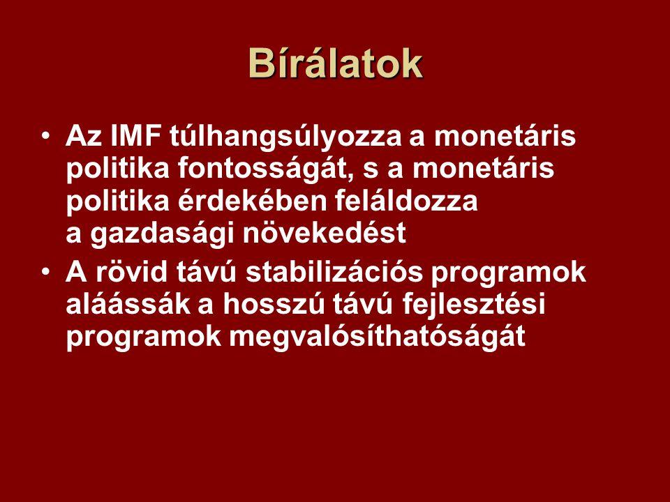 Bírálatok Az IMF túlhangsúlyozza a monetáris politika fontosságát, s a monetáris politika érdekében feláldozza a gazdasági növekedést A rövid távú stabilizációs programok aláássák a hosszú távú fejlesztési programok megvalósíthatóságát