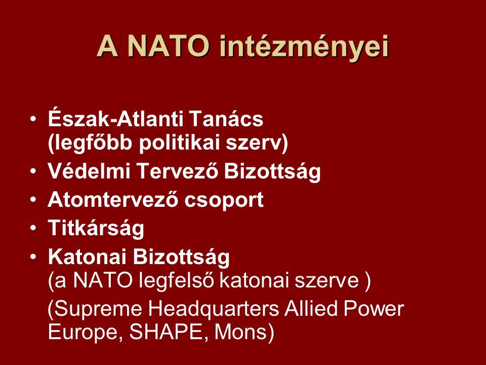 A NATO intézményei Észak-Atlanti Tanács (legfőbb politikai szerv) Védelmi Tervező Bizottság Atomtervező csoport Titkárság Katonai Bizottság (a NATO legfelső katonai szerve ) (Supreme Headquarters Allied Power Europe, SHAPE, Mons)