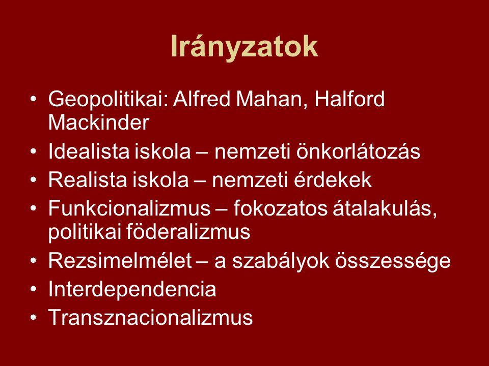Irányzatok Geopolitikai: Alfred Mahan, Halford Mackinder Idealista iskola – nemzeti önkorlátozás Realista iskola – nemzeti érdekek Funkcionalizmus – fokozatos átalakulás, politikai föderalizmus Rezsimelmélet – a szabályok összessége Interdependencia Transznacionalizmus