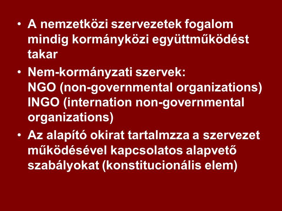 A nemzetközi szervezetek fogalom mindig kormányközi együttműködést takar Nem-kormányzati szervek: NGO (non-governmental organizations) INGO (internation non-governmental organizations) Az alapító okirat tartalmzza a szervezet működésével kapcsolatos alapvető szabályokat (konstitucionális elem)