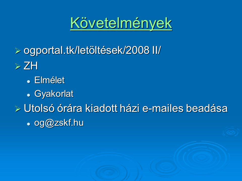 Követelmények  ogportal.tk/letöltések/2008 II/  ZH Elmélet Elmélet Gyakorlat Gyakorlat  Utolsó órára kiadott házi e-mailes beadása og@zskf.hu og@zs
