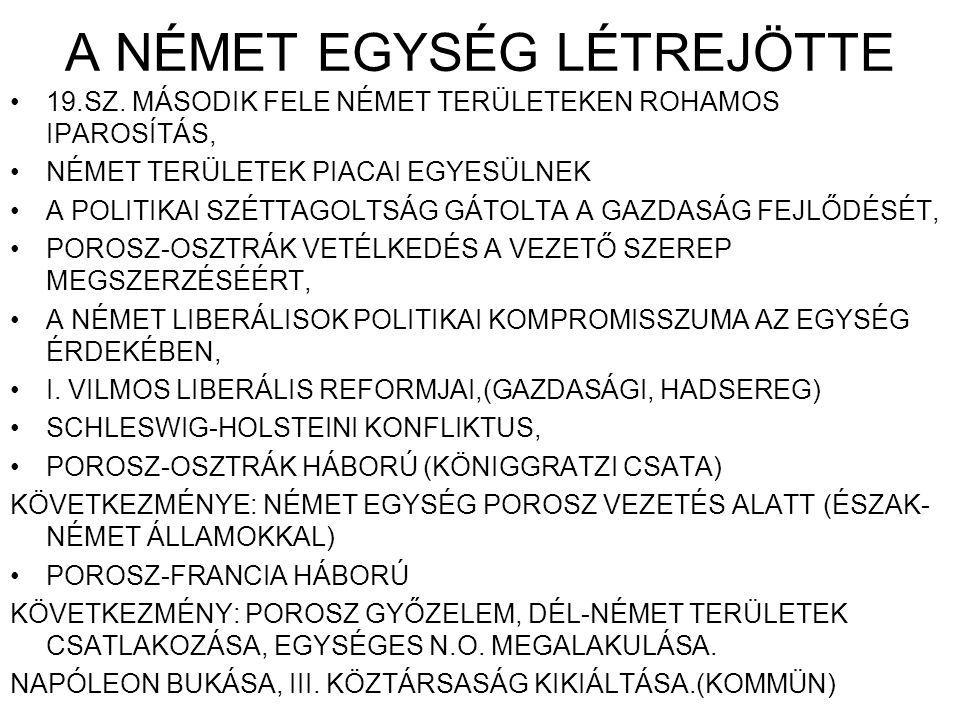 A NÉMET EGYSÉG LÉTREJÖTTE 19.SZ.