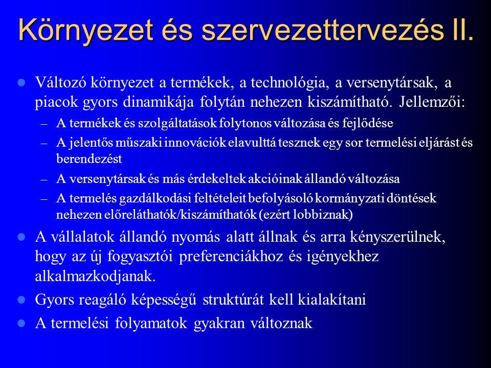 Környezet és szervezettervezés II.