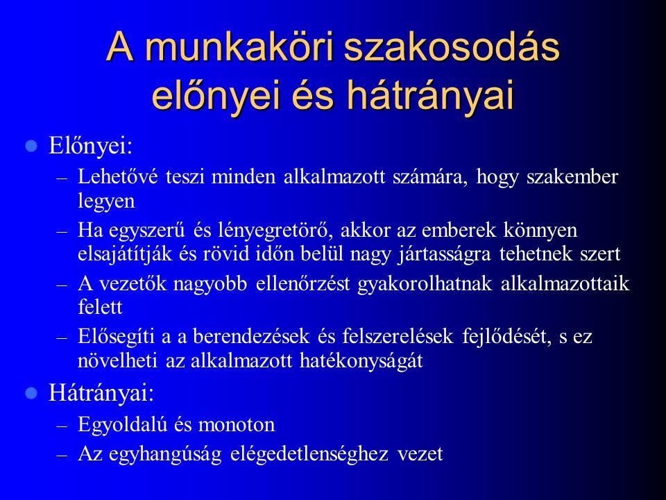 A specializáció változatai Munkaköri – Szakosodás: – Rotáció: – Bővítés: – Gazdagítás: A ABCAA