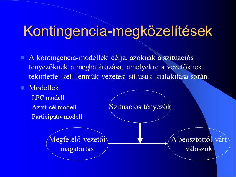 Kontingencia-megközelítések A kontingencia-modellek célja, azoknak a szituációs tényezőknek a meghatározása, amelyekre a vezetőknek tekintettel kell lenniük vezetési stílusuk kialakítása során.