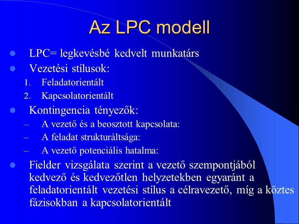Az LPC modell LPC= legkevésbé kedvelt munkatárs Vezetési stílusok: 1.