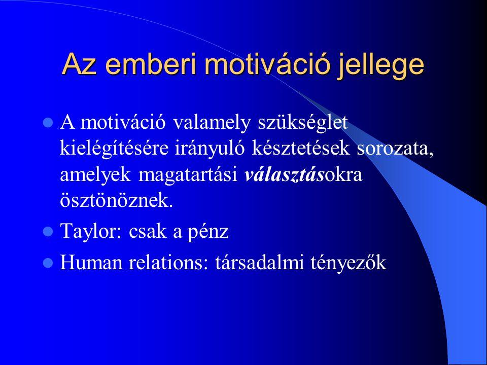 Az emberi motiváció jellege A motiváció valamely szükséglet kielégítésére irányuló késztetések sorozata, amelyek magatartási választásokra ösztönöznek.
