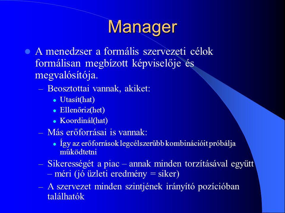 Leader A leader a formális felhatalmazástól független személyes befolyással bír, azokra, akik ennek alapján követik őt.