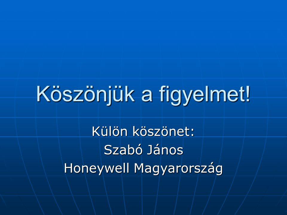 Köszönjük a figyelmet! Külön köszönet: Szabó János Honeywell Magyarország