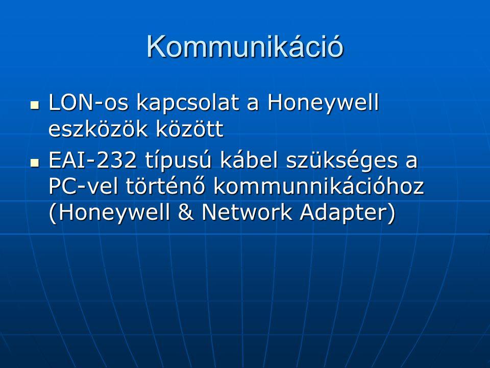 Kommunikáció LON-os kapcsolat a Honeywell eszközök között LON-os kapcsolat a Honeywell eszközök között EAI-232 típusú kábel szükséges a PC-vel történő