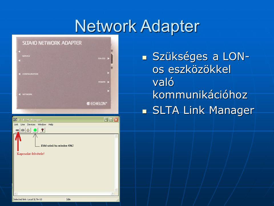 Network Adapter Szükséges a LON- os eszközökkel való kommunikációhoz Szükséges a LON- os eszközökkel való kommunikációhoz SLTA Link Manager SLTA Link