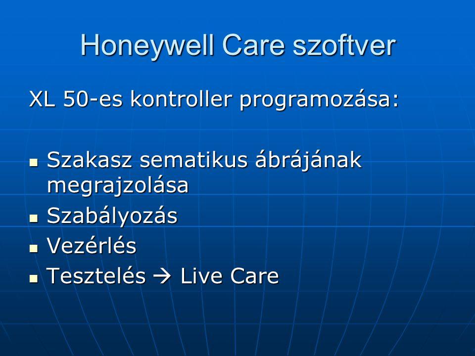 Honeywell Care szoftver XL 50-es kontroller programozása: Szakasz sematikus ábrájának megrajzolása Szakasz sematikus ábrájának megrajzolása Szabályozá