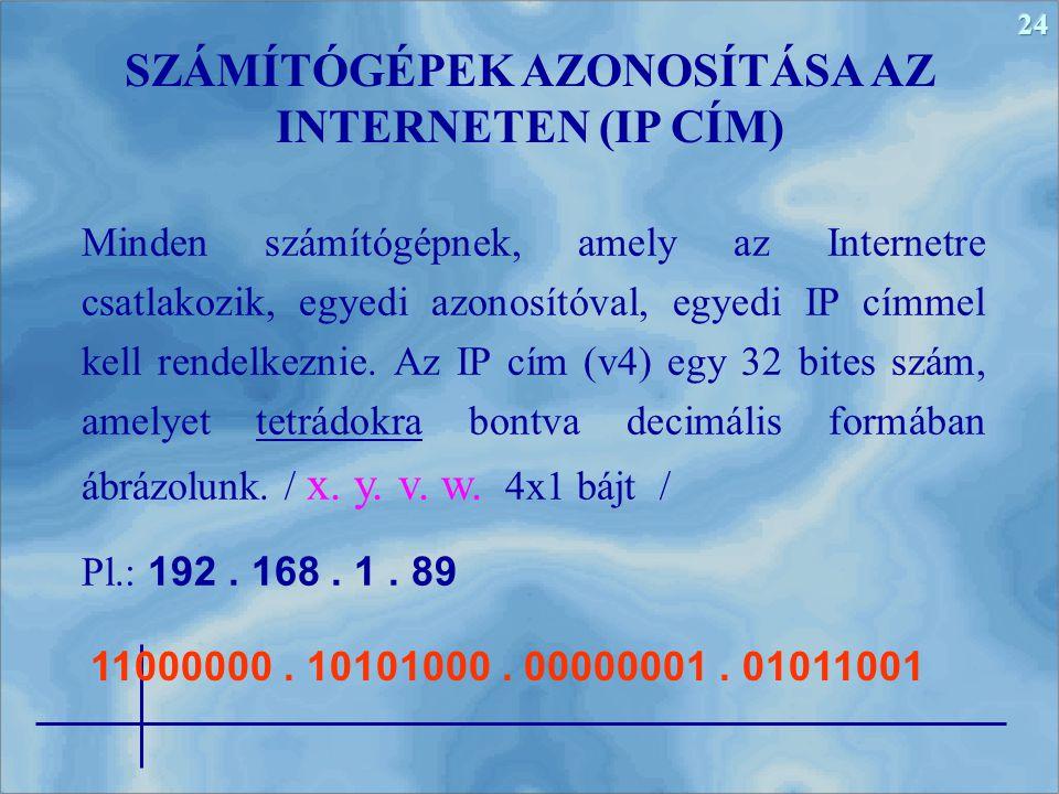 24 Minden számítógépnek, amely az Internetre csatlakozik, egyedi azonosítóval, egyedi IP címmel kell rendelkeznie. Az IP cím (v4) egy 32 bites szám, a