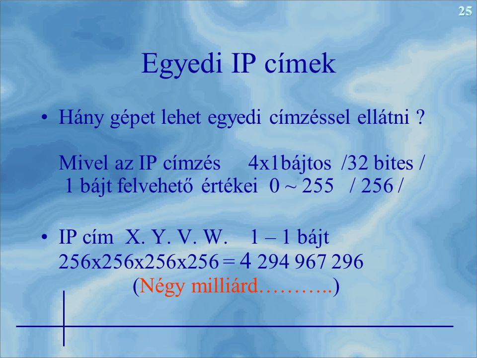 25 Egyedi IP címek Hány gépet lehet egyedi címzéssel ellátni ? Mivel az IP címzés 4x1bájtos /32 bites / 1 bájt felvehető értékei 0 ~ 255 / 256 / IP cí
