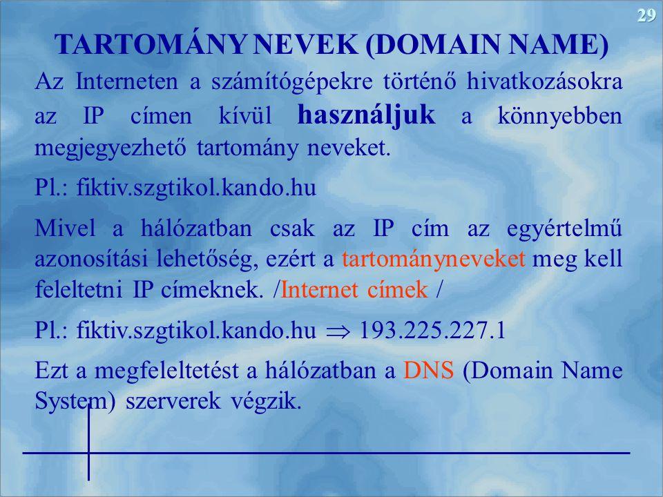 29 Az Interneten a számítógépekre történő hivatkozásokra az IP címen kívül használjuk a könnyebben megjegyezhető tartomány neveket. Pl.: fiktiv.szgtik