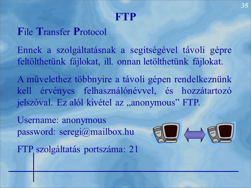 35 F ile T ransfer P rotocol Ennek a szolgáltatásnak a segítségével távoli gépre feltölthetünk fájlokat, ill.