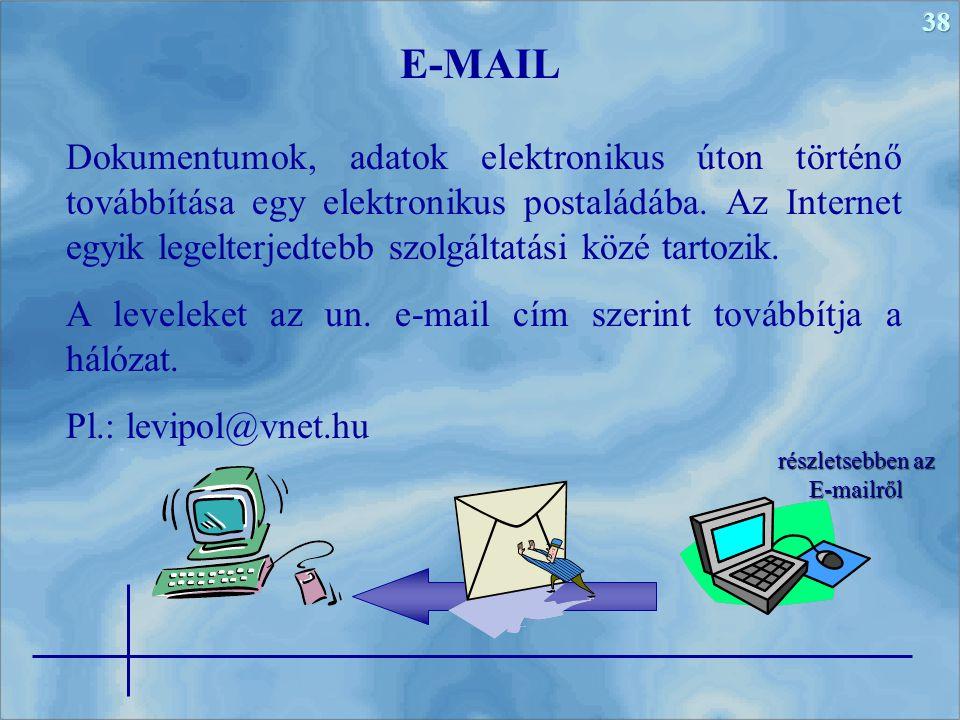 38 Dokumentumok, adatok elektronikus úton történő továbbítása egy elektronikus postaládába. Az Internet egyik legelterjedtebb szolgáltatási közé tarto