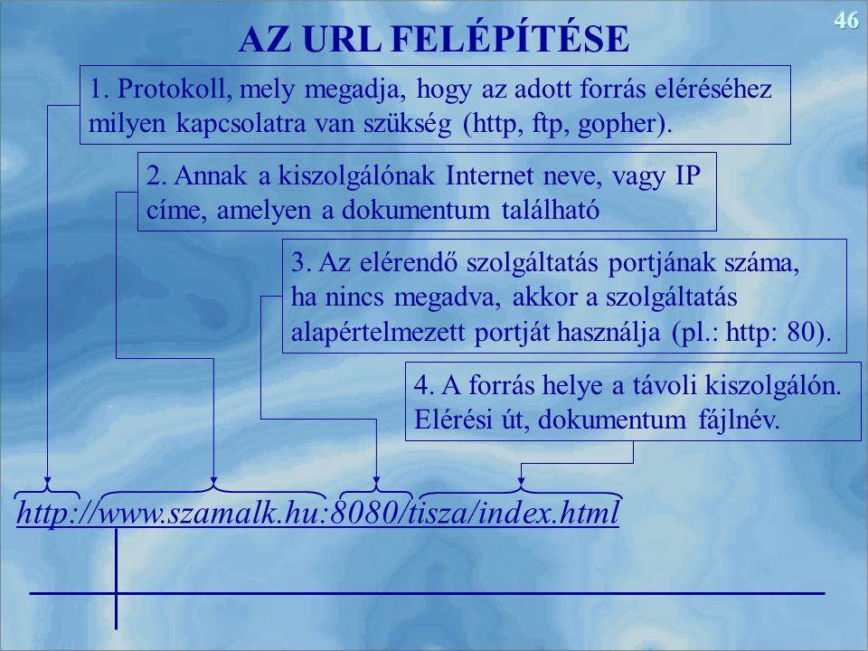 46 http://www.szamalk.hu:8080/tisza/index.html AZ URL FELÉPÍTÉSE 1. Protokoll, mely megadja, hogy az adott forrás eléréséhez milyen kapcsolatra van sz