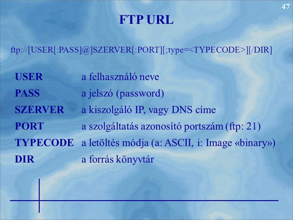 47 ftp://[USER[:PASS]@]SZERVER[:PORT][;type= ][/DIR] FTP URL USERa felhasználó neve PASSa jelszó (password) SZERVERa kiszolgáló IP, vagy DNS címe PORTa szolgáltatás azonosító portszám (ftp: 21) TYPECODEa letöltés módja (a: ASCII, i: Image «binary») DIRa forrás könyvtár