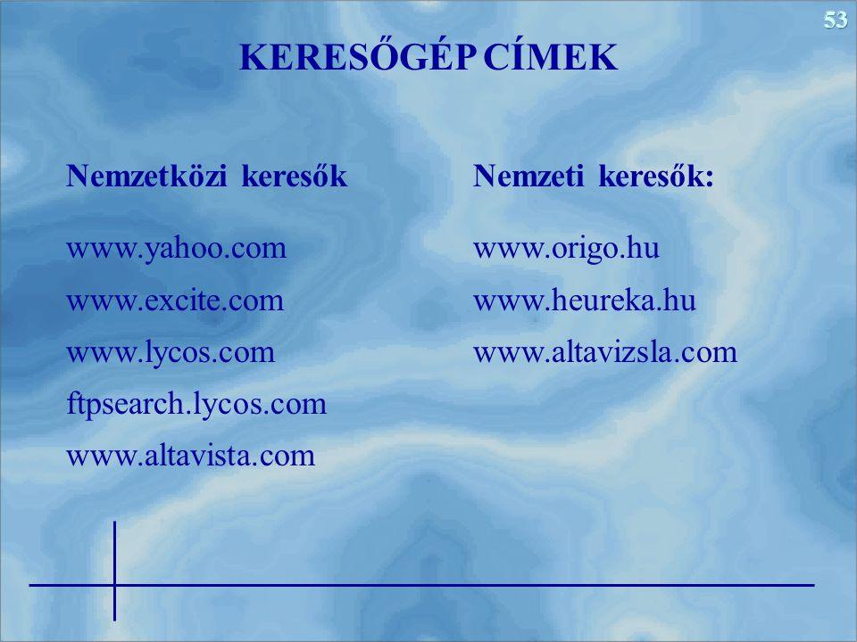 53 Nemzeti keresők: www.origo.hu www.heureka.hu www.altavizsla.com KERESŐGÉP CÍMEK Nemzetközi keresők www.yahoo.com www.excite.com www.lycos.com ftpsearch.lycos.com www.altavista.com