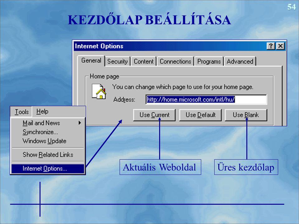 54 KEZDŐLAP BEÁLLÍTÁSA Aktuális WeboldalÜres kezdőlap