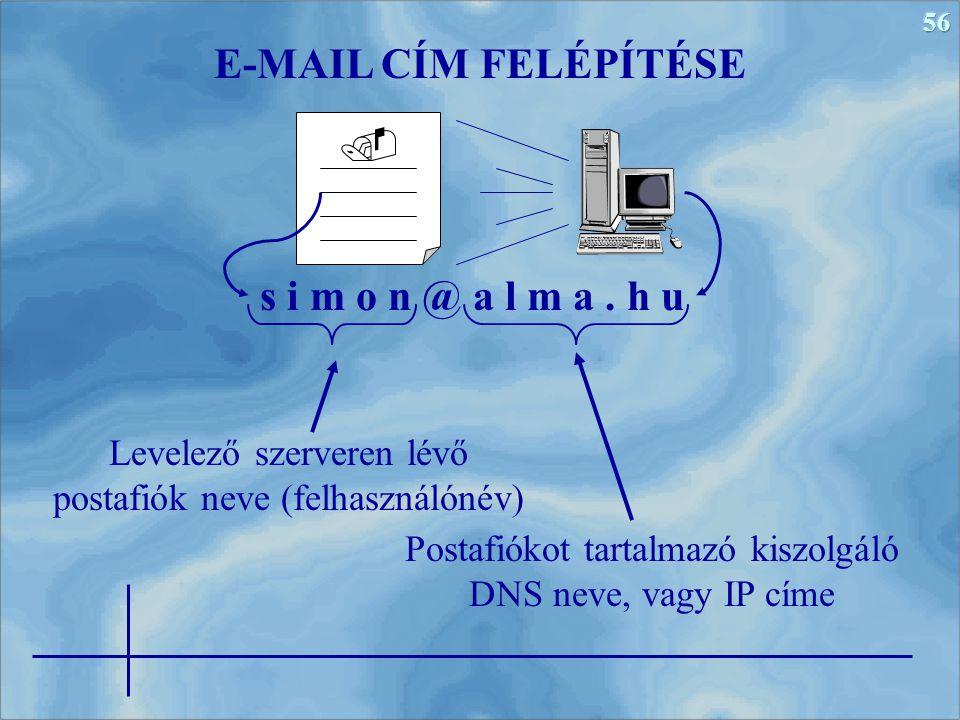 56 s i m o n @ a l m a. h u E-MAIL CÍM FELÉPÍTÉSE Postafiókot tartalmazó kiszolgáló DNS neve, vagy IP címe Levelező szerveren lévő postafiók neve (fel