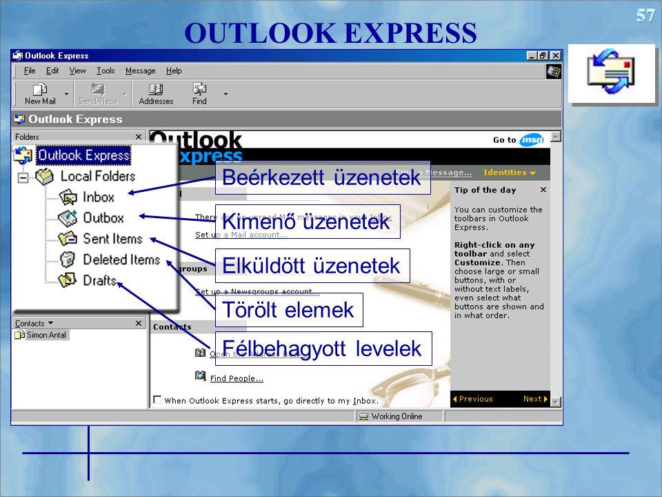 57 OUTLOOK EXPRESS Beérkezett üzenetek Kimenő üzenetek Elküldött üzenetek Törölt elemek Félbehagyott levelek
