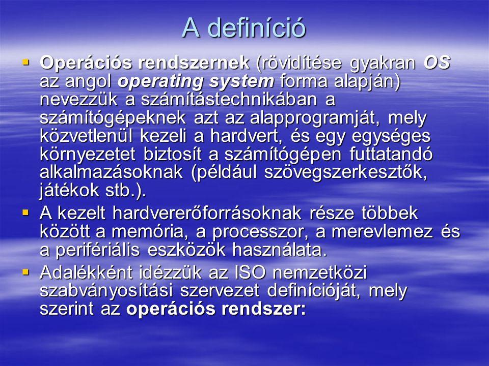 A definíció  Operációs rendszernek (rövidítése gyakran OS az angol operating system forma alapján) nevezzük a számítástechnikában a számítógépeknek a