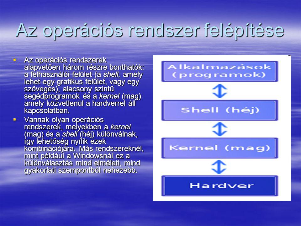 Az operációs rendszer felépítése  Az operációs rendszerek alapvetően három részre bonthatók: a felhasználói felület (a shell, amely lehet egy grafiku