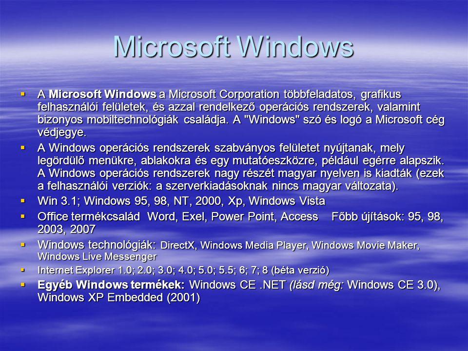 Microsoft Windows  A Microsoft Windows a Microsoft Corporation többfeladatos, grafikus felhasználói felületek, és azzal rendelkező operációs rendszer