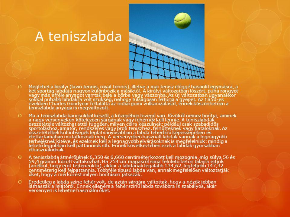A teniszlabda  Meglehet a királyi (lawn tennis, royal tennis), illetve a mai tenisz eléggé hasonlít egymásra, a két sportág labdája nagyon különbözik