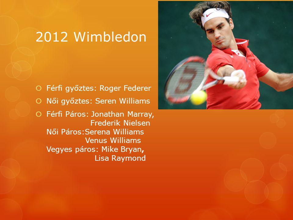 2012 Wimbledon  Férfi győztes: Roger Federer  Női győztes: Seren Williams  Férfi Páros: Jonathan Marray, Frederik Nielsen Női Páros:Serena Williams