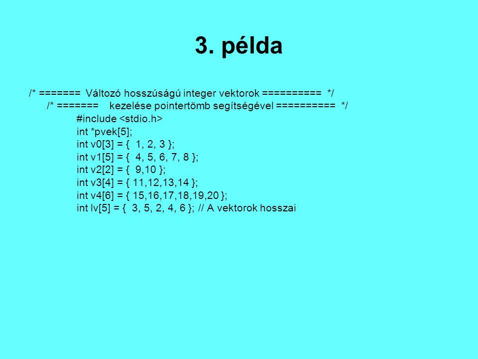 void main() { int i, j; // Elhelyezzük a vektorok címeit a pointervektor // megfelelô elemeiben.