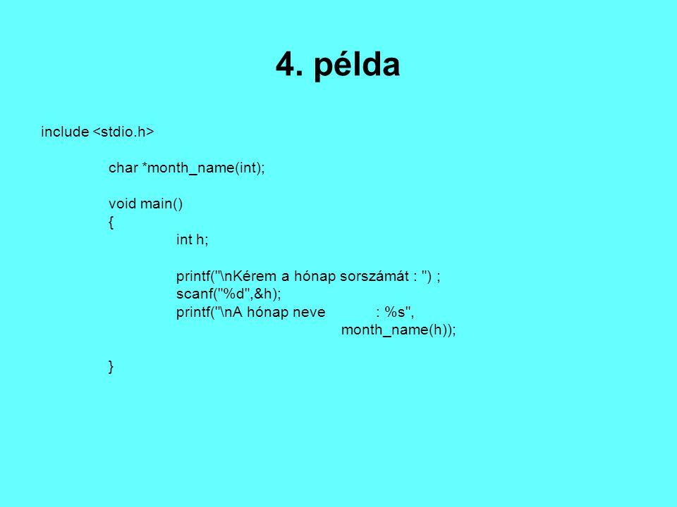 char *month_name( n ) /*Visszaadja az n-edik hónap nevét*/ int n; { static char *name[] = { nem létezô hónap , január , február , március , április , május , június , július , augusztus , szeptember , október , november , december }; return( (n 12) .