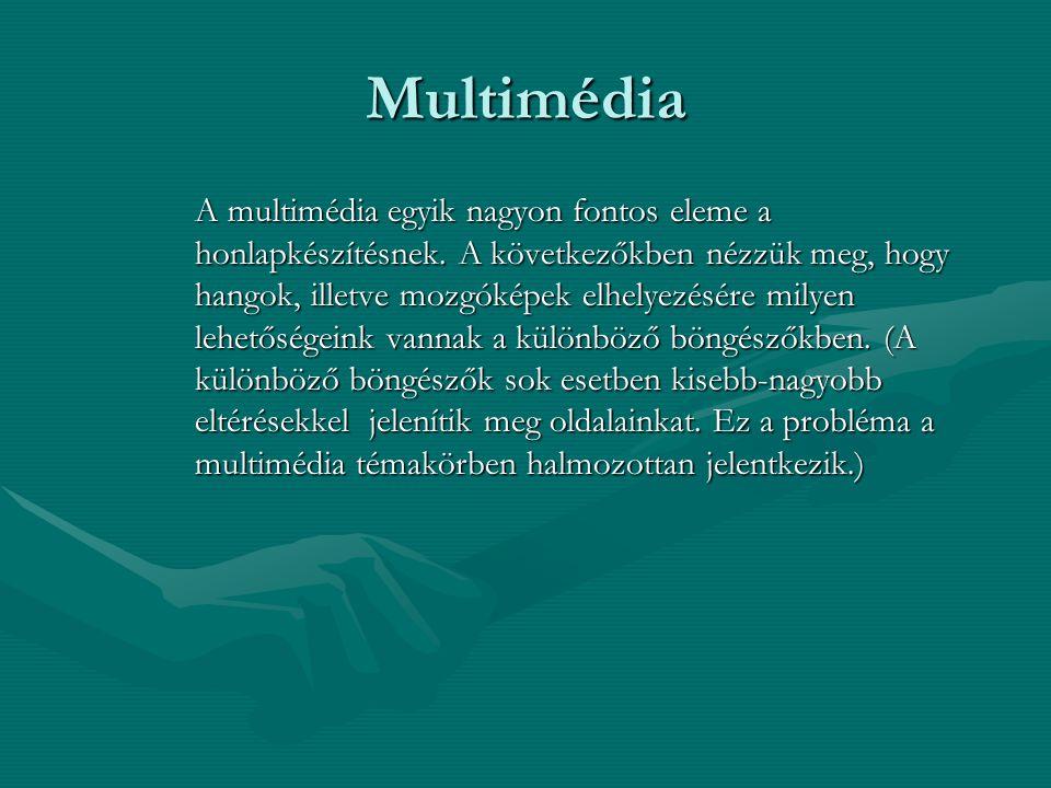 Multimédia A multimédia egyik nagyon fontos eleme a honlapkészítésnek.